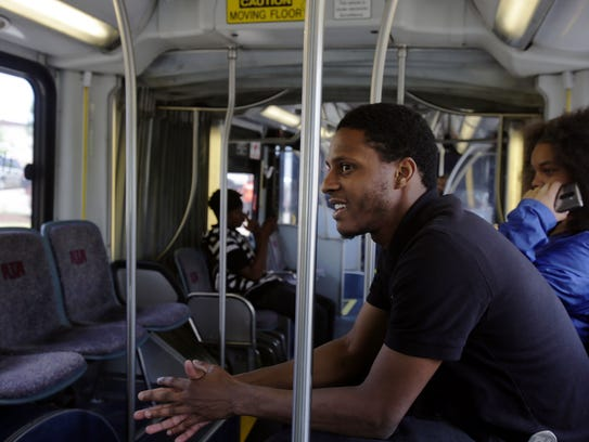 Kevin Robinson, 21, of Cleveland, OH rides the RTA's