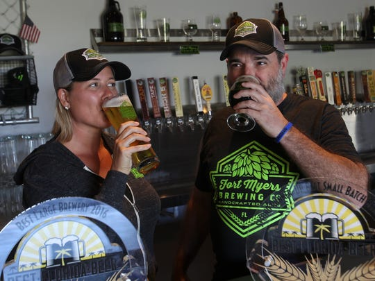 Jen Gratz and husband, Rob Whyte, opened Fort Myers Brewing Co. in March 2013.
