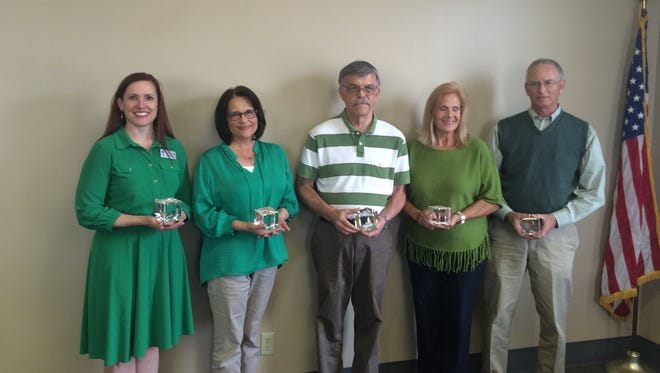 Recipients of the 2015 Health Leadership Awards are, from left, Lauren Collier for Vol State Community College, Marijo Monette,  Ken Hirth,  Lugene Sloan and Bill Mize of Salvus Center.