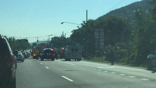 A muti-car accident backed up traffic Thursday morning on the Vestal Parkway.