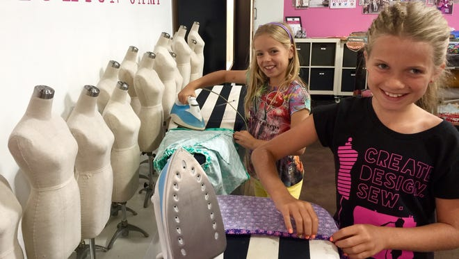 Young sewers go through the steps of designing, measuring and sewing their own creations at Create. Design. Sew.
