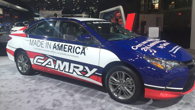 The Toyota Camry, assembled in Georgetown, Ky., is considered by Cars.com as the most American vehicle. This Camry was on display at the North American International Auto Show on April 12, 2013.