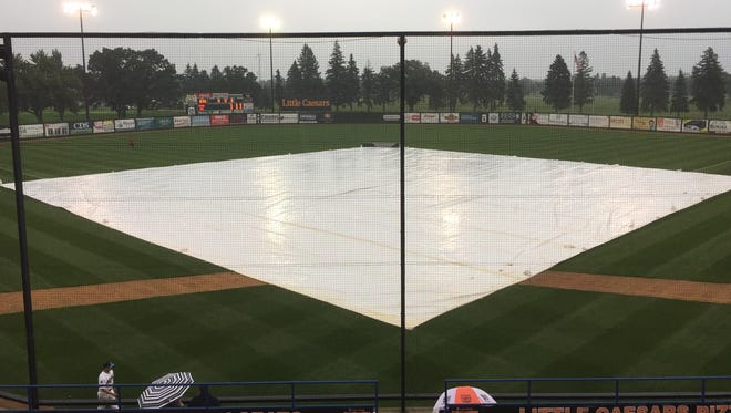 A look at Joe Faber Field during the rain delay Wednesday. The Northwoods League Summer Collegiate World Series Game 1 was postponed because of rain. The game has been rescheduled to start at 4:05 p.m. Thursday at Faber.