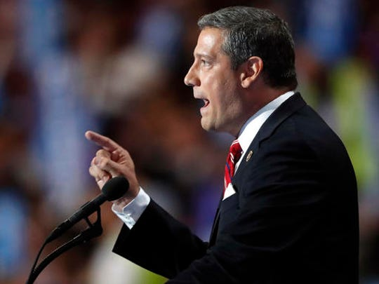 FILE - In this July 28, 2016 file photo, Rep. Tim Ryan, D-Ohio speaks at the Democratic National Convention in Philadelphia. House Minority Leader Nancy Pelosi of Calif. is responding to a challenge to her position as top House Democrat by proposing a greater role for junior lawmakers in congressional committees and within her leadership team. Pelosi is being challenged by Ryan in the aftermath of elections that were disappointing for Democrats.