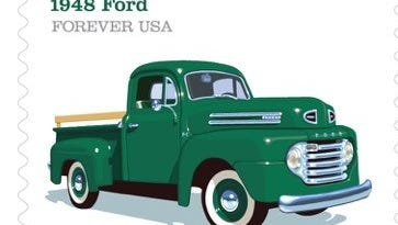 Chris Lyons illustrated The Pickup Trucks Forever stamps for the U.S. Postal Service.