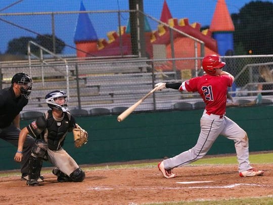 Acadiana Cane Cutters catcher Rhett McCall hits a pitch as the Cutters take on the Texas Marshals. McCall has been a consistent force at the plate this season and hits in the heart of the order for the Cutters.