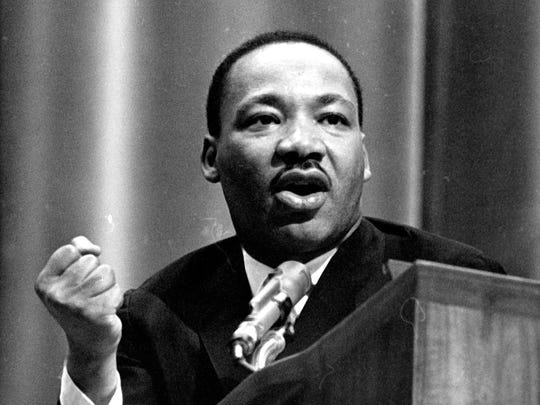 The Rev. Martin Luther King Jr. speaks during his 1965 visit to Michigan State University.