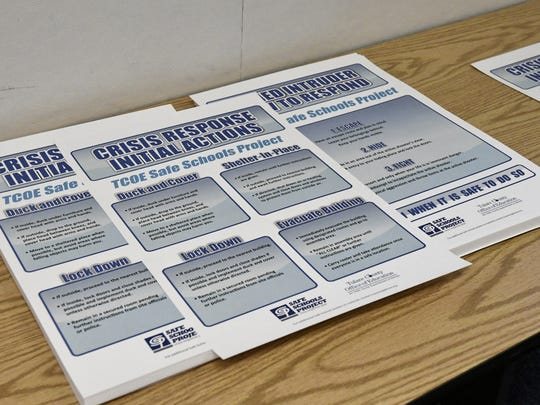 A flyer, given to educators, discusses the effective methods of dealing with a campus shooter.