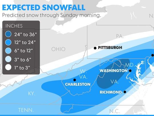 Predicted snowfall through Sunday morning.