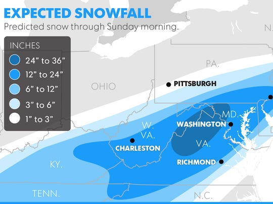 Predicted snowfall through Sunday morning.