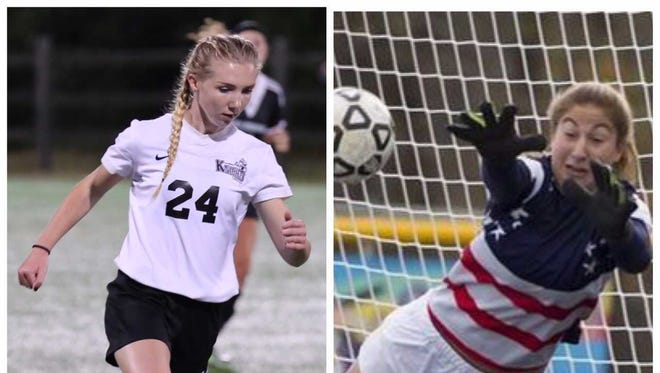 East Brunswick's Lauren Krinsky and Old Bridge's Nichole Adams share HNT Girls Soccer Player of the Year honors