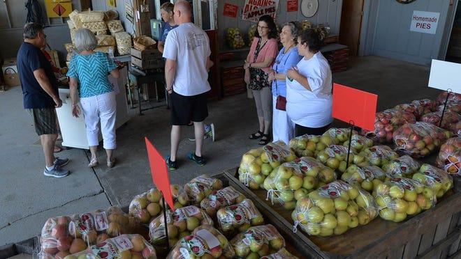 In this Aug. 23, 2018 photo, people shop for apples at Grandad's Apples.
