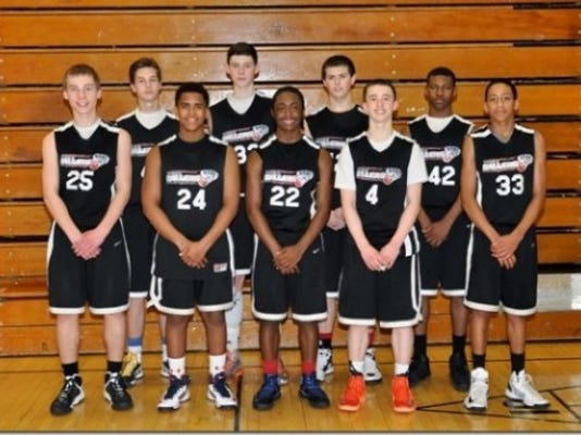 From front left, Avery Terroso (Dallastown), Jacq Casiano (William Penn), Donovan Catchings (Dallastown), Brandon McGlynn (York Catholic), Eli Brooks (Spring Grove). From rear left, Cameron Lovett (Penn Manor), Taylor Funk (Manheim Central), Jared Achterberg (Eastern York), Dearius Brown (Northeastern). Not pictured, coaches Pat McGlynn, Carmelo Casiano and Jon Showers.