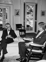 John Bartlow Martin, then U.S. ambassador to the Dominican, talks with JFK