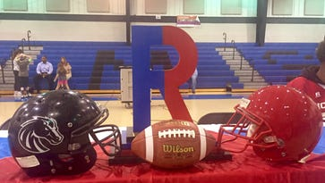 The Battle of the R trophy at Riser Middle School prior to the eighth-grade football rivalry game between Riser and Richwood.