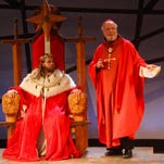 """Henry V (Nick Shuhan) meets with the Archbishop of Canterbury (Dave Dietrich) in the Ithaca Shakespeare Company production of """"Henry V."""""""