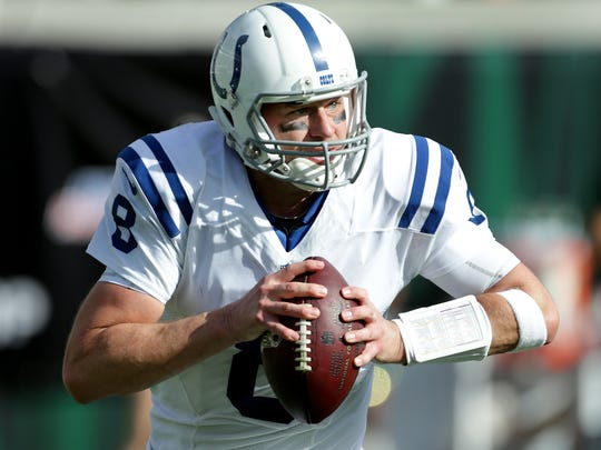 Indianapolis Colts quarterback Matt Hasselbeck (8) scrambles out of the pocket in the second quarter of their game at EverBank Field Sunday, December 13, 2015, afternoon  in Jacksonville FL.