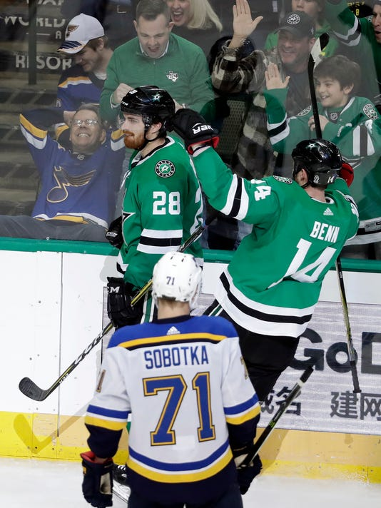 St. Louis Blues center Vladimir Sobotka (71), of the Czech Republic, watches as Dallas Stars defenseman Stephen Johns (28) and left wing Jamie Benn (14) celebrate a goal by Johns during the third period of an NHL hockey game Friday, Feb. 16, 2018, in Dallas. The Stars won 2-1. (AP Photo/Tony Gutierrez)