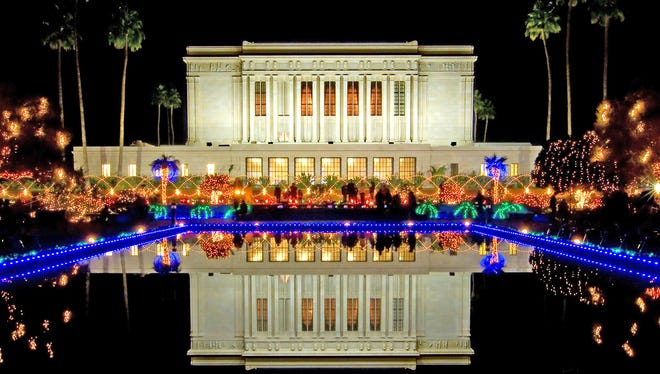 The lights are switched on nightly at the Mesa Temple from Nov. 28 to Dec. 31.