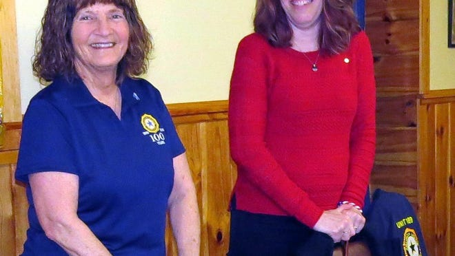 """American Legion Auxiliary Unit 189 president Sophie Liberatore, left, poses with Melanie Haines after Haines received the """"Unit Member of the Year"""" award recently from the state American Legion Auxiliary."""