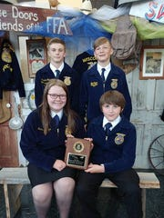 Competing at the State FFA Convention in Madison was the Waupun FFA Quiz Bowl team made up of, front row from left: Makenna Kunz and Dion Kardaris; back row: Cole Hicken and Cameron Pokorny.