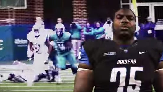 Offensive tackle Darius Johnson is among several team leaders featured in the ad.