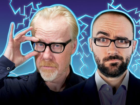 """Adam Savage, left, of """"Mythbusters"""" and YouTube star Michael Stevens teamed up for Brain Candy Live! The show is described as a two-hour play date with Walt Disney, Willy Wonka and Albert Einstein. It's a hands-on, minds-on theatrical experience like no other."""