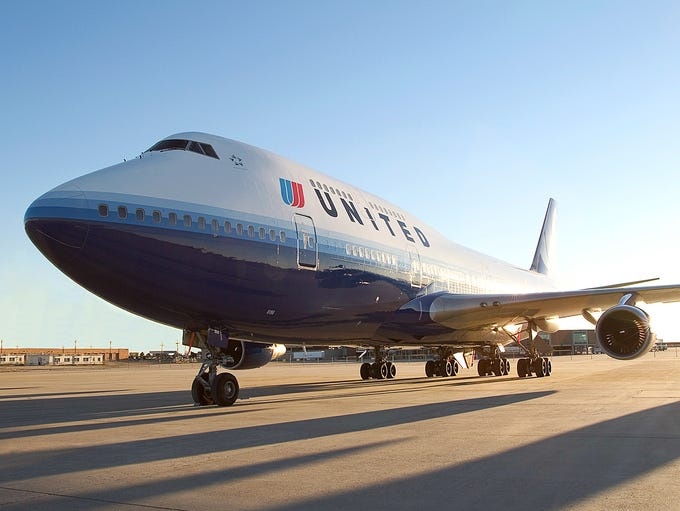 A United Airlines Boeing 747-400 in an undated handout