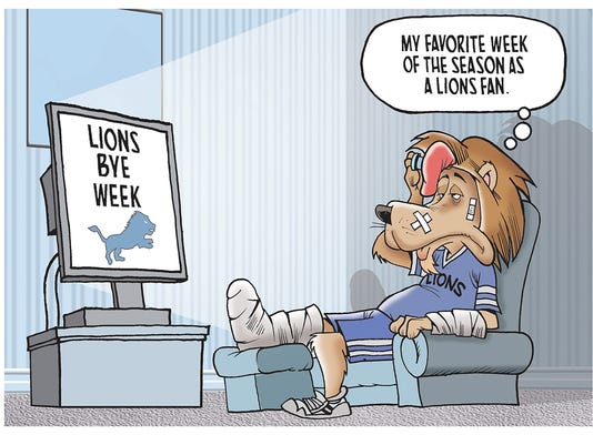The winner of our Lions bye week cartoon caption contest