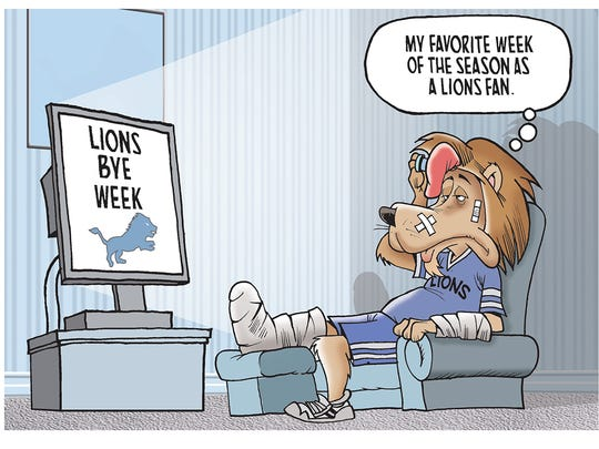 The winning reader submission in our Detroit Lions bye week cartoon caption contest!