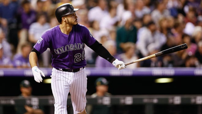 All-star third baseman Nolan Arenado and the Colorado Rockies complete a five-game homestand with a 1:10 p.m. game Sunday at Coors Field against the Oakland Athletics.