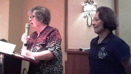 Karen Taylor (left) and Linda Muse (right) of We Care For Animals make presentation to Desert Dames