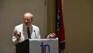 U.S. Rep. Steve Cohen, D-Memphis, addresses Tennessee's Democratic delegation Tuesday morning during a breakfast at a hotel outside Philadelphia.