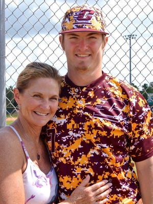 Central Michigan University pitcher/outfielder Colton Bradley with his late mother, Debbie Bradley.