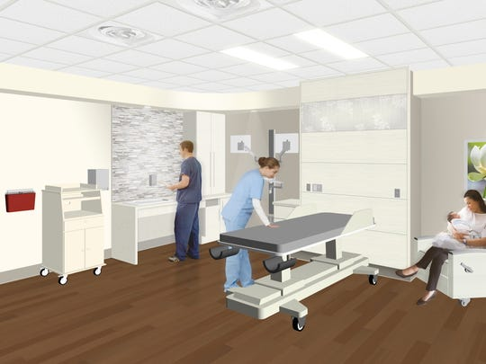 As shown in a rendering by Array Architects, private maternity suites at Inspira Mullica Hill will allow mothers to labor, deliver and recover in the same room.