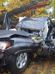 The scene of a serious crash Sunday afternoon in which four people were injured, two critically.