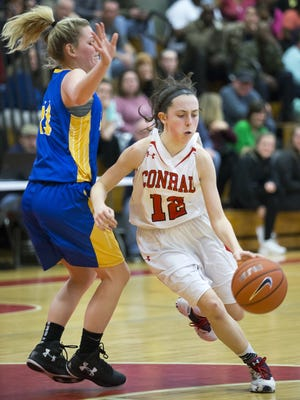 Conrad's Alyssa Faville, seen here against A.I., scored 22 points as the Red Wolves defeated Hodgson in DIAA second-round playoff action on Thursday.