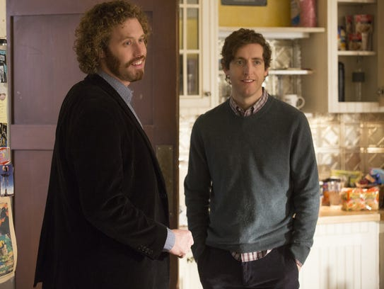 Erlich (T.J. Miller, left) shares big news with Richard