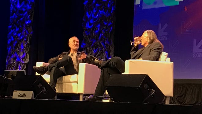 Gawker Media founder Nick Denton, left, talks with ad exec Jeff Goodby at SXSW Interactive.