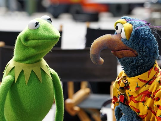 "Kermit the Frog and Gonzo the Great appear in a scene from ""The Muppets."""
