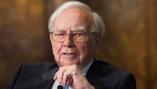 Warren Buffett, CEO of Berkshire Hathaway, speaks at Georgetown University in Washington D.C.