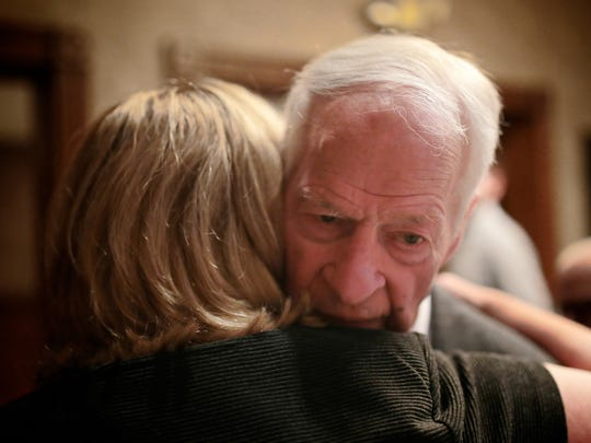 Red Wings legend Gordie Howe greets friends and family on Thursday during the Troy Community Coalition Celebrity Night Dinner at San Marino Club.