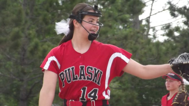 Pulaski junior pitcher Liz Pautz reacts after making a strikeout in Tuesday's WIAA Division 1 sectional final game against Ashwaubenon. Pautz made nine strikeouts in the 1-0 victory.