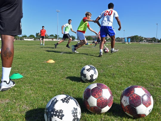 One of the many Space Coast United Soccer teams practicing