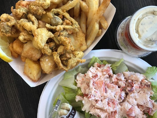 The Captain's Platter and a plate of lobster salad
