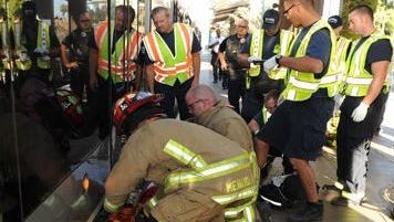 Mesa Fire and Medical crews freed a man whose leg became caught between a light-rail car and platform on June 15, 2016.