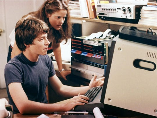 """Mathew Broderick shows classmate Ally Sheedy how to break into a top-secret computer system, and possibly trigger World War III in the process, in the 1983 movie """"WarGames."""""""