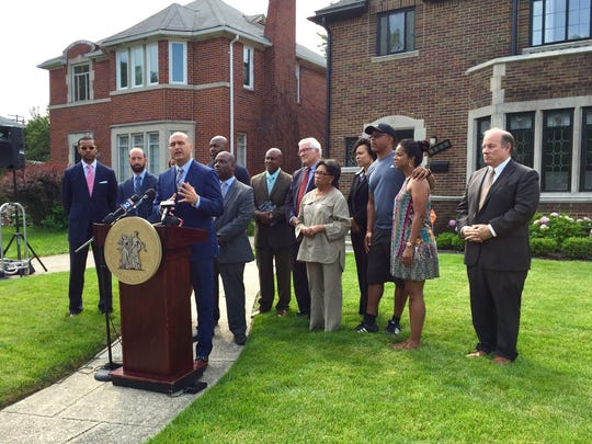Detroit Superintendent Nikolai Vitti announces that Detroit teachers and other school employees will get a 50% discount in buying homes from the city, part of a program that encourages them to live in the same community in which they serve.peaks during a news conference on July 21, 2017.