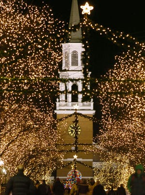 A view of the First Unitarian Universalist Society church during a recent Christmas season.