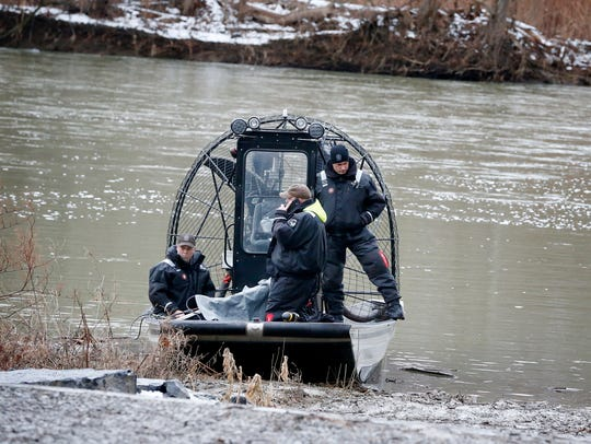 A New York State Police airboat readies to leave the